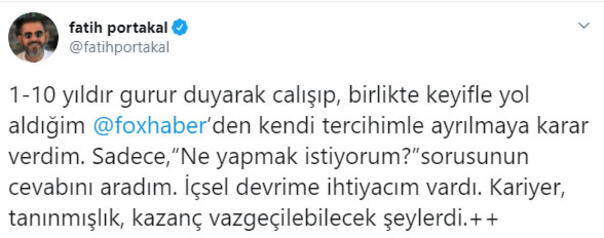 FOX TV ve Fatih Portakaldan açıklama geldi