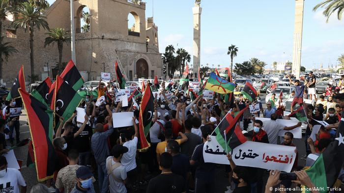 Libya'da düzenlenen protesto gösterilerinden biri