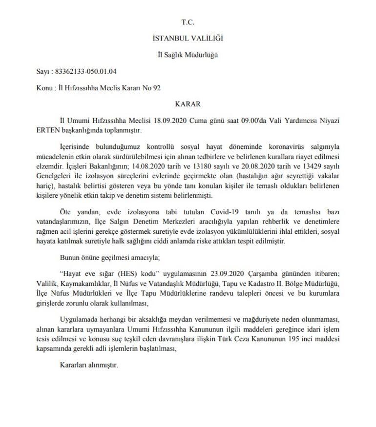 Son dakika haberler… İstanbul'da çok önemli 'HES kodu' kararı