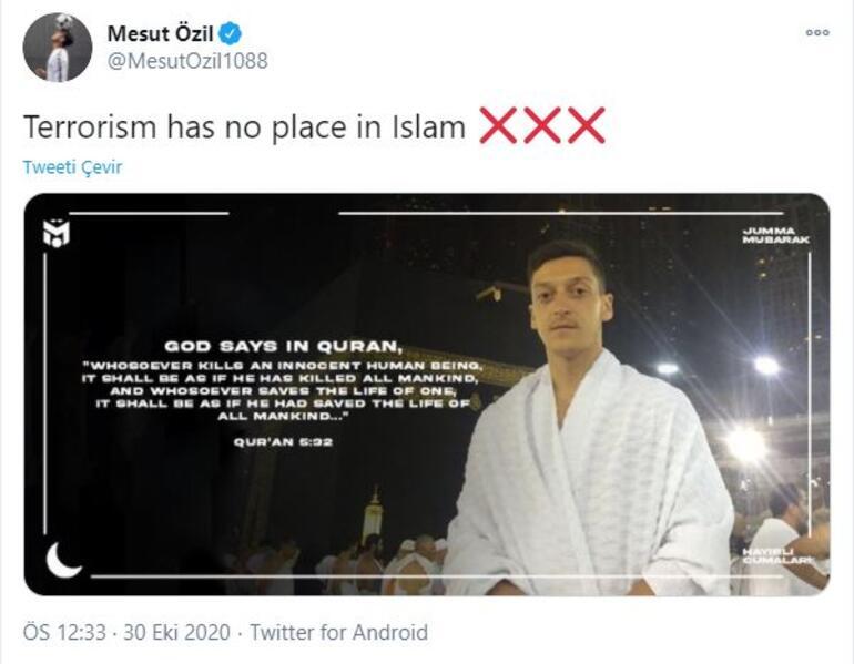 Mesut Özilden ayetli paylaşım İslamda terörün yeri yoktur